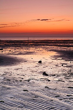 Sunrise at the Wadden Sea at low water, Texel, The Netherlands, The Netherlands, Europe
