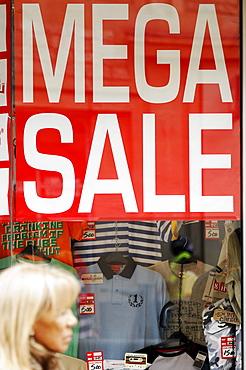 Mega sale, sign in a High Street shop window, Oxford, England, United Kingdom, Europe