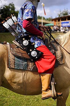 Turkish participant in classic costume on a horse, open Eocha European championship 09, mounted archery, with steppe riders from all over the world, Trossenfurt, Franconia, Bavaria, Germany, Europe