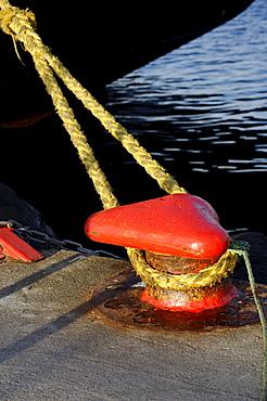 Mooring bollard, harbour, Rorvik, Norway, Scandinavia, Europe