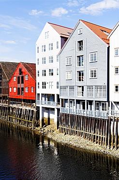 Former trading houses at the Kjopmannsgata on the river Nidelva, Trondheim, Norway, Scandinavia, Europe