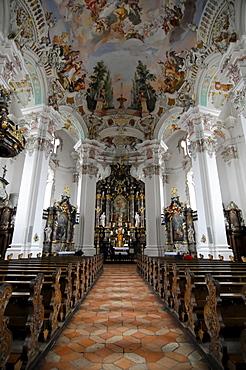 Interior, Pilgrimage Church in Steinhausen, built by the Zimmermann brothers 1728-1731, Steinhausen, Baden-Wuerttemberg, Germany, Europe