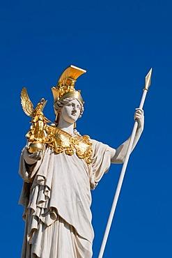 Parlament parliament building, Pallas Athene statue, Ringstrasse street, Vienna, Austria, Europe