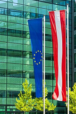 Austrian and European flags, Vienna, Austria, Europe