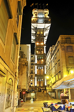 Elevator at night, Elevador de Santa Justa or Elevador do Carmo, connecting the districts of Baixa and Chiado, Lisbon, Portugal, Europe