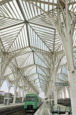 Platform at the Gare do Oriente train station, architect Santiago Calatrava, on the grounds of the Parque das Nacoes park, site of the Expo 98, Lisbon, Portugal, Europe