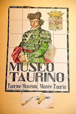 Wall tiles at the Museo Taurino, bullfighting museum in Las Ventas Bullring, Madrid, Spain, Iberian Peninsula, Europe