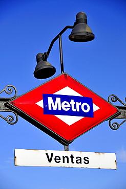 Sign at a metro station, Las Ventas Bullring, Madrid, Spain, Iberian Peninsula, Europe