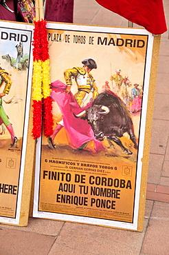 Bullfight poster on a stall at the Plaza de Toros Las Ventas, Las Ventas Bullring, Madrid, Spain, Iberian Peninsula, Europe