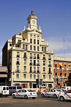 Old clock tower on the Plaza de Colon, Madrid, Spain, Iberian Peninsula, Europe