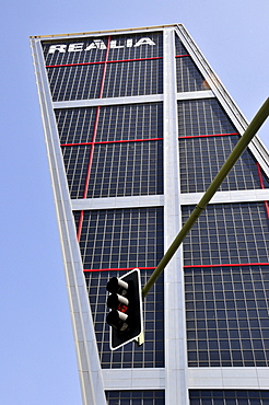 One of the Kio Towers, Torres Kio or Puerta de Europa, Plaza Castilla, Madrid, Spain, Iberian Peninsula, Europe