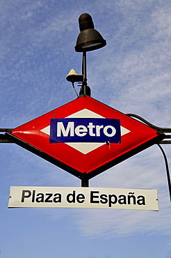 Sign Metro, subway, Plaza de Espana, Madrid, Spain, Iberian Peninsula, Europe