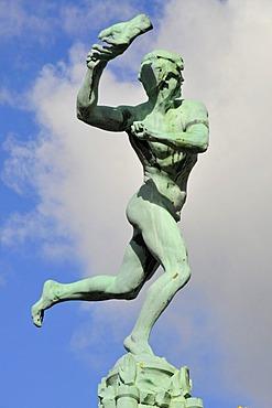 Sculpture on the Brabofontein Brabo fountain, Grote Markt square, Antwerp, Belgium, Europe