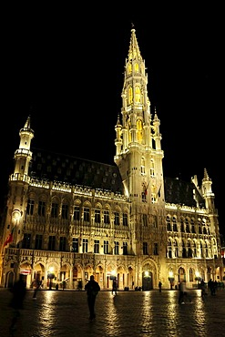 City Hall at night, Grand Place, Grote Markt square, Brussels, Belgium, Europe