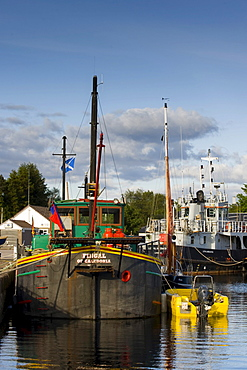 Ship in a ship lock, Caledonian Canal, Corpach near Fort William, Scotland, United Kingdom, Europe