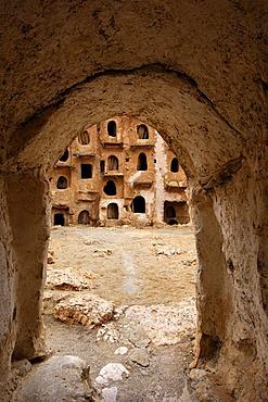 Entrance tunnel to the interior of the Berber granary Qasr al-Haj, Nafusa Mountains, Libya, Africa
