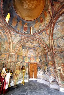 Byzantine frescoes, ca. 1500, in the church of Agios Nikolaos Fountoukli, Rhodes, Greece, Europe