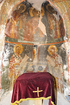 Frescoes of Christ with the archangels, 14th to 15th century, Agios Thomas church, Rhodes, Greece, Europe