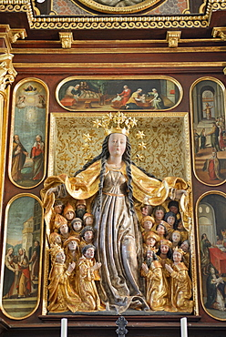 Baroque altar with sheltering-cloak Madonna, Maria-Schutz-Kirche church of the Protection, Fischbachau, Upper Bavaria, Bavaria, Germany, Europe
