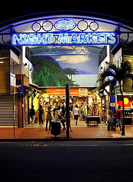Night scene Night Markets, shopping mall, Cairns, Queensland, Australia