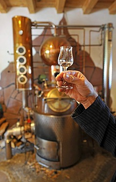 Hand holding jigger in front of a distillery, house distillery, Berg-Gasthof Kernhof mountain inn, Seebach, Black Forest, Baden-Wuerttemberg, Germany, Europe