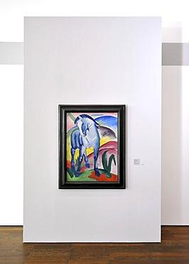Painting, Blaues Pferd I, Blue Horse I, 1911, oil on canvas by Franz Marc, special exhibition, Der Blaue Reiter, The Blue Rider, on loan from Staedtische Galerie in Lenbachhaus, Frieder Burda Museum, Munich, Baden-Baden, Baden-Wuerttemberg, Germany, Europ