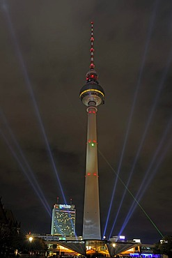 TV Tower and Park Inn Hotel during the Festival of Lights 2009, Alexanderplatz, Berlin, Germany, Europe