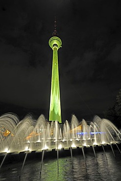 Berlin's TV tower, illuminated, Festival of Lights 2009, Alexanderplatz, Berlin, Germany, Europe