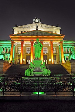 Schiller monument in front of the Konzerthaus concert hall on the Gendarmenmarkt square, illuminated for the Festival of Lights 2009, Berlin, Germany, Europe