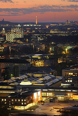 View over the Kulturforum cultural forum on the evening skyline of Berlin with art gallery, Kunstgewerbemuseum Arts and Crafts Museum, Tiergarten district, Hotel Intercontinental, Funkturm television tower, ICC and Teufelsberg, Berlin, Germany, Europe