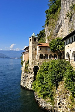 Monastery and pilgrimage church of Santa Caterina del Sasso, Lago Maggiore lake, Lombardy, Varese, Italy, Europe