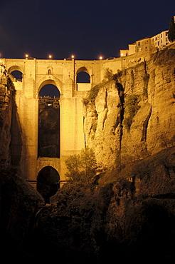 Puente Nuevo, new bridge, over Tajo gorge at night, Ronda, Malaga province, Andalusia, Spain, Europe