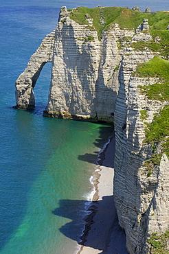 Falaise d'aval, sea cliff, etretat, Cote d'Albatre, Haute-Normandie, Normandy, France, Europe