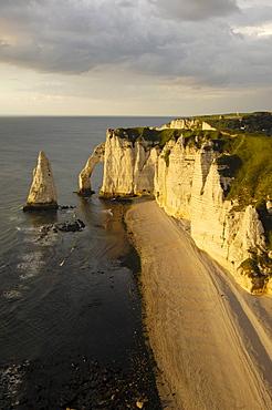 Falaise d'aval at sunset, sea cliff, etretat, Cote d'Albatre, Haute-Normandie, Normandy, France, Europe