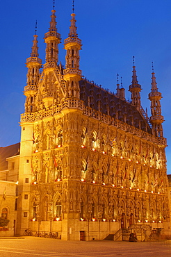 Stadhuis, town hall, and Grote Markt, main square, at dusk, Leuven, Louvain, Brabant, Flanders, Belgium, Europe