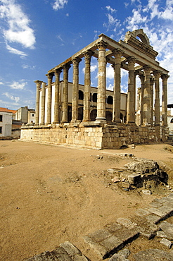 Ruins of Diana's temple, in the old Roman city Emerita Augusta, Merida, Badajoz province, Ruta de la Plata, Spain, Europe