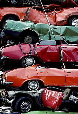 Car wrecks of old car models, stacked, auto recycling, junk yard, North Rhine-Westphalia, Germany, Europe