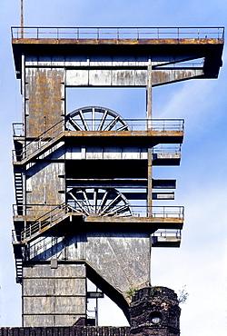 Pit frame of the former former Prosper II pit, unrenovated, Prosper-Haniel pit, Bottrop, Ruhr area, North Rhine-Westphalia, Germany, Europe