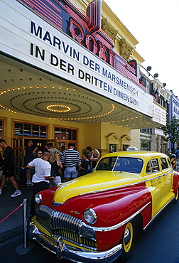 De Soto vintage car parked in front of the entrance of a 3-D movie theater, movie: Marvin the Martian, Warner Brothers Movie World 2003, now Movie Park Germany, Bottrop Kirchhellen, Ruhr area, North Rhine-Westphalia, Germany, Europe
