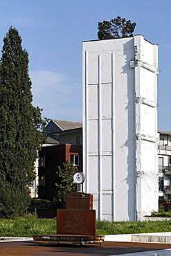 Remnants of a storage building, Garten der Erinnerungen Garden of Memories by Dani Karavan, inner harbor, Duisburg, Ruhrgebiet area, North Rhine-Westphalia, Germany, Europe