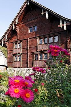 Haus Fuessinger house from Siebratsreute, from 1705, Rhine valley house-style, Wolfegg farmhouse museum, Allgaeu region, Upper Swabia, Baden-Wuerttemberg, Germany, Europe