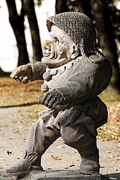 Male dwarf with a big nose, sculpture series of crippled people from the Baroque period, Zwergelgarten, Mirabellgarten Mirabell Palace gardens, Salzburg, Austria, Europe