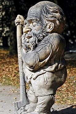 Bearded dwarf with a bump on the head, sculpture series of crippled people from the Baroque period, Zwergelgarten, Mirabellgarten Mirabell Palace gardens, Salzburg, Austria, Europe