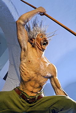 Attacking Celtic warrior with spear, war cry, life-like figure, Keltenmuseum Celtic museum, Hallein, Salzburger Land region, Salzburg, Austria, Europe