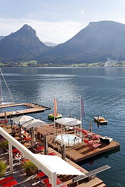 Bathing and wellness platform in the Wolfgangsee lake, famous hotel Im Weissen Roessl, St. Wolfgang, Salzkammergut region, Upper Austria, Austria, Europe