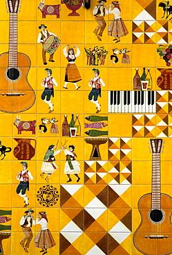 Tile facade, motifs from dance and music, Barrio Alto, Lisbon, Portugal, Europe