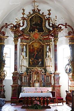 Altar with paintings by Angelica Kauffmann, Parish Church in Schwarzenberg, Bregenz Forest, Bregenzerwald, Vorarlberg, Austria, Europe