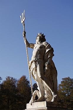 Neptune statue, Grosse Kaskade cascades, Nymphenburg Park, Munich, Upper Bavaria, Bavaria, Germany, Europe