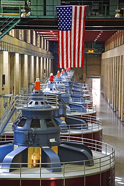 Turbines inside the Hoover Dam near Las Vegas, Boulder City, historically Junction City, Nevada, USA, North America