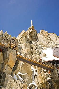 Lower terrace and summit tower at the top of the Aiguille Du Midi, Chamonix, Mont Blanc Massif, Alps, France, Europe